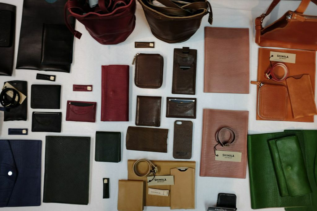 A veritable rainbow of Shinola leather goods.