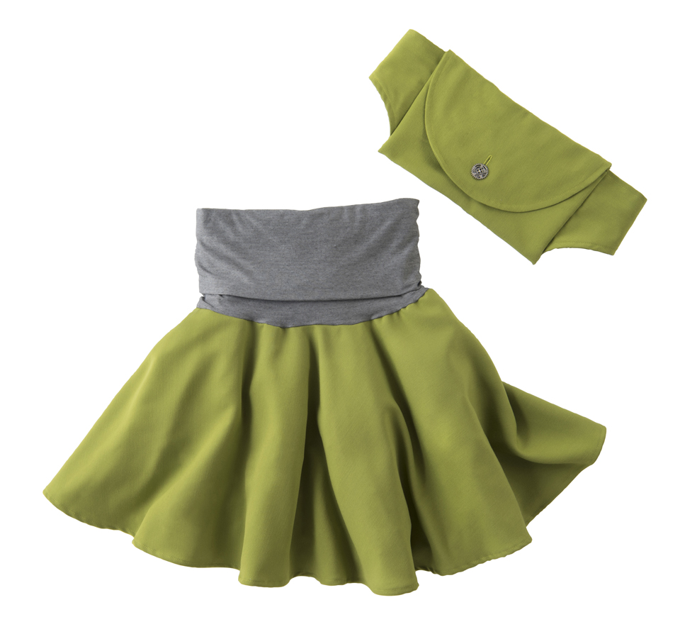 The Aura Skirt, shown here in avocado.  A full circle, breezy skirt with a doubled over yoga-style waistband and matching hip pack.  Fabric content for the main part is a polyblend gabardine, and the waistband is four-way stretch and wicking.  Some people put biking shorts on underneath; I find there's always fabric between my knees and prefer not to have shorts.   Shop Aura here.