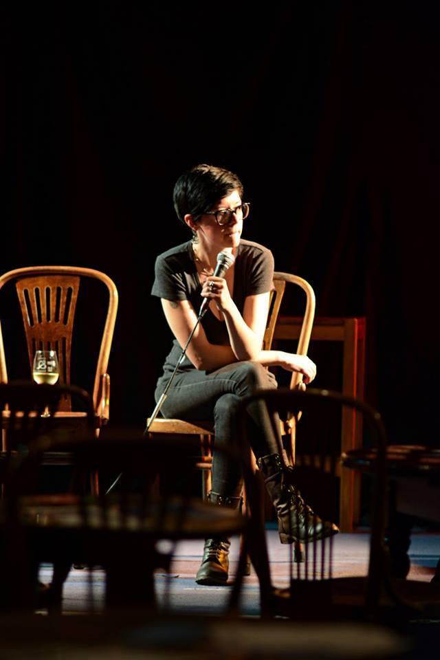 Carrie Ichikawa Jenkins at Café Philosophique. (Photo by Jonathan Jenkins Ichikawa.)