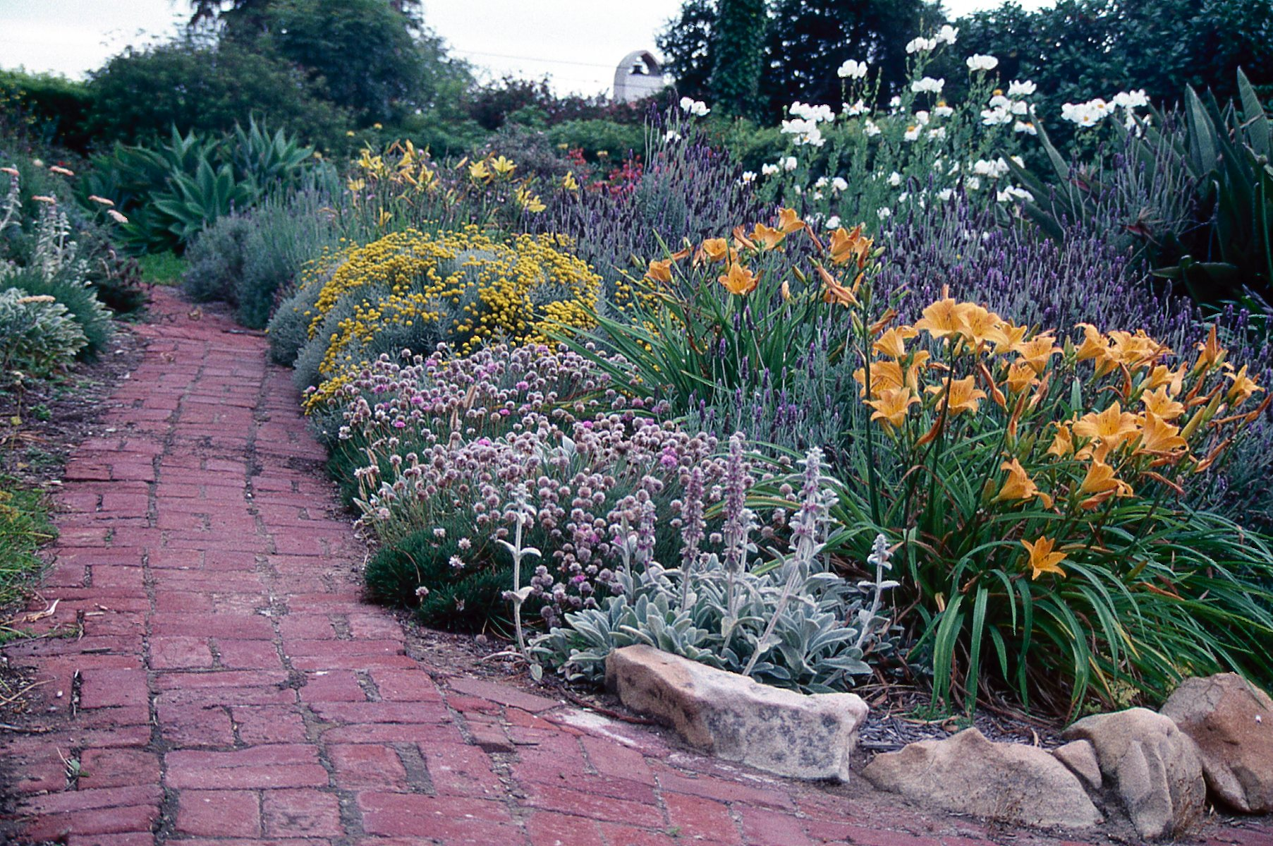brick pathway with flowers