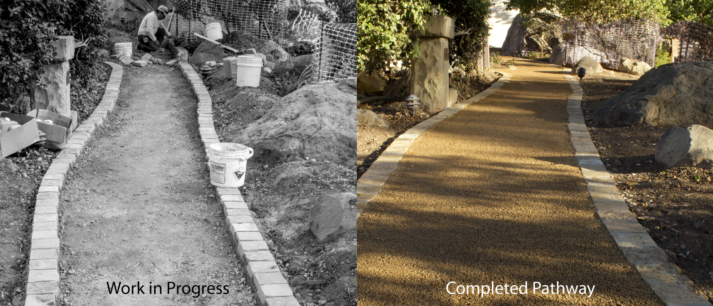 Pathways edged with stone secured in cement while pathway medium is EcoPave providing a no slip surface that allows water to penetrate through substrate.