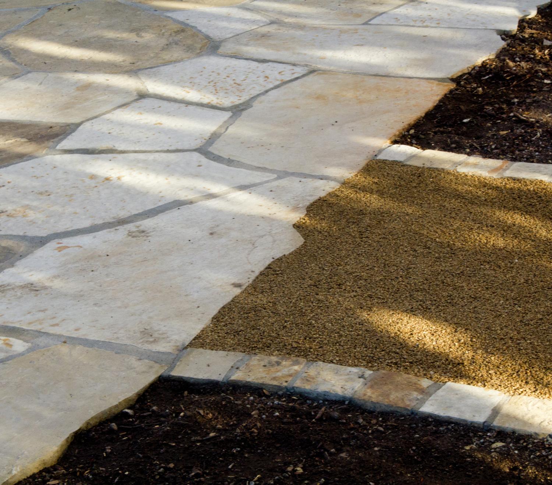 Blending flagstone patio to pathway.