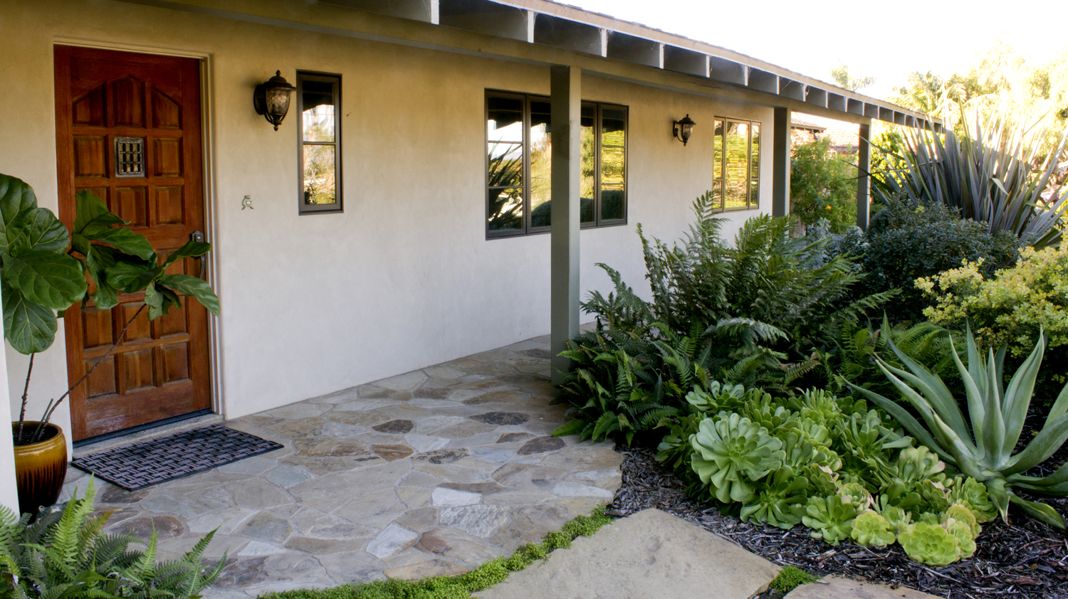 North facing entry landscape takes advantage of shade created by housing structure to create a lush mix of ferns.