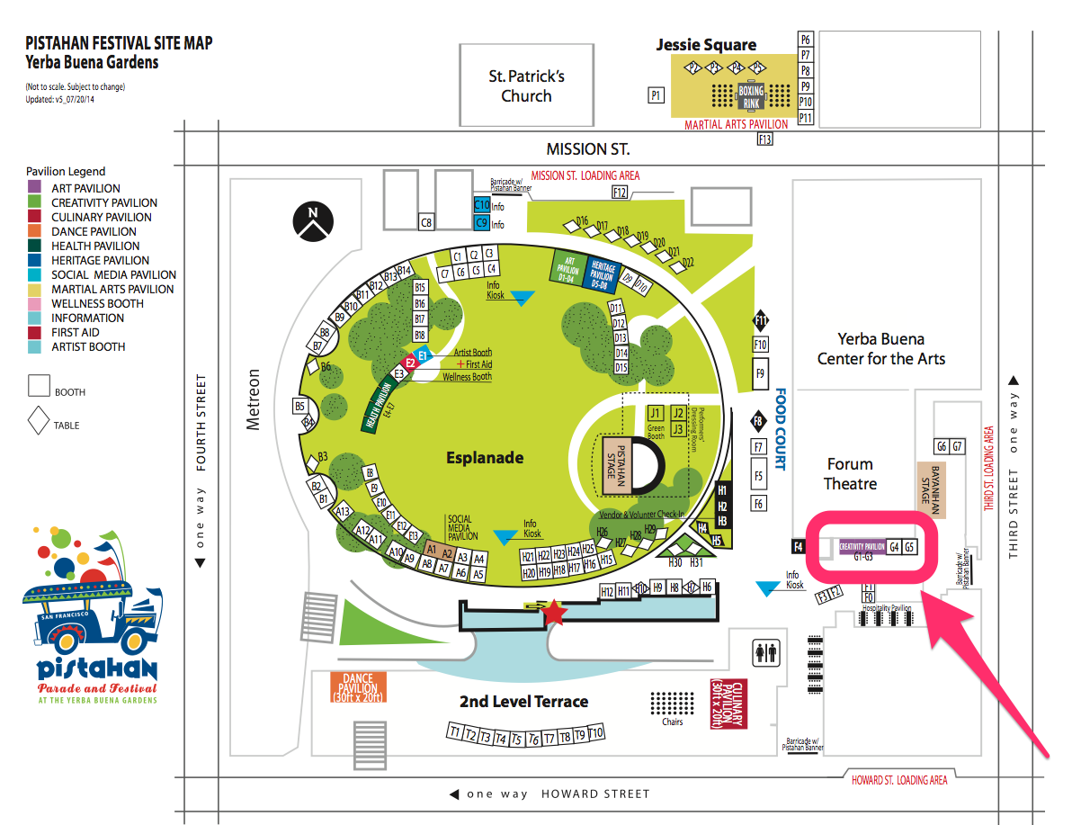 The Creativity Pavilion is located towards the Third Street side of Yerba Buena Gardens, around the corner from the Bayanihan Stage and Food Court. C lick image to embiggen.