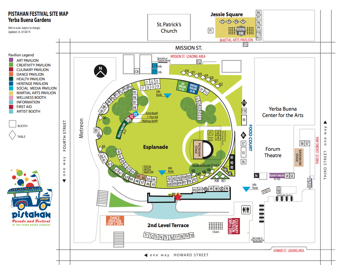 Pistahan Festival map of Yerba Buena Gardens and Jessie Square.  Click map to embiggen.