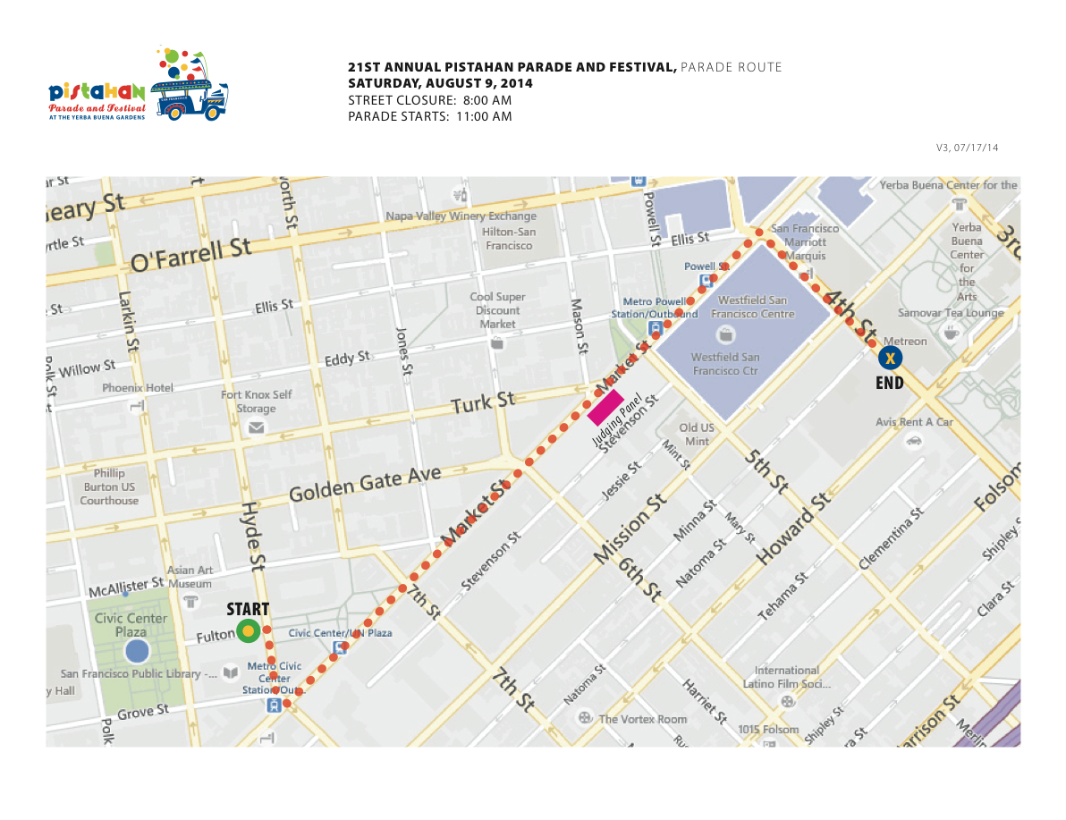 2014 Pistahan Parade Route, San Francisco  Click map to embiggen.