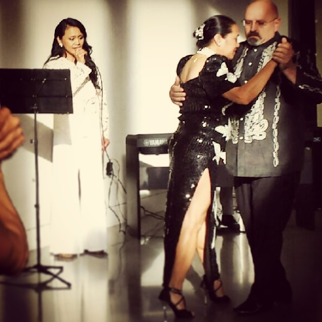 Genevieve Dwyer and Don Cain dance the Harana Tango accompanied by vocalist Annabelle Ramil.