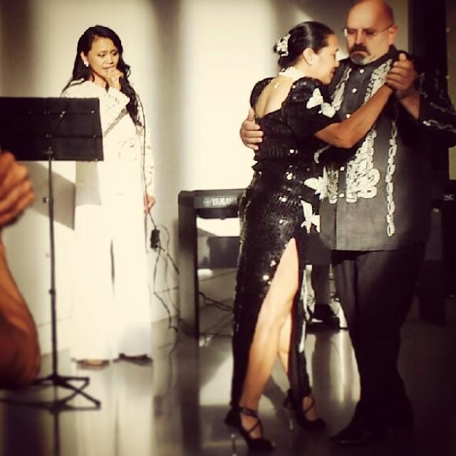 Genevieve Dwyer and Don Cain dance the harana tango accompanied by Annabelle Ramil