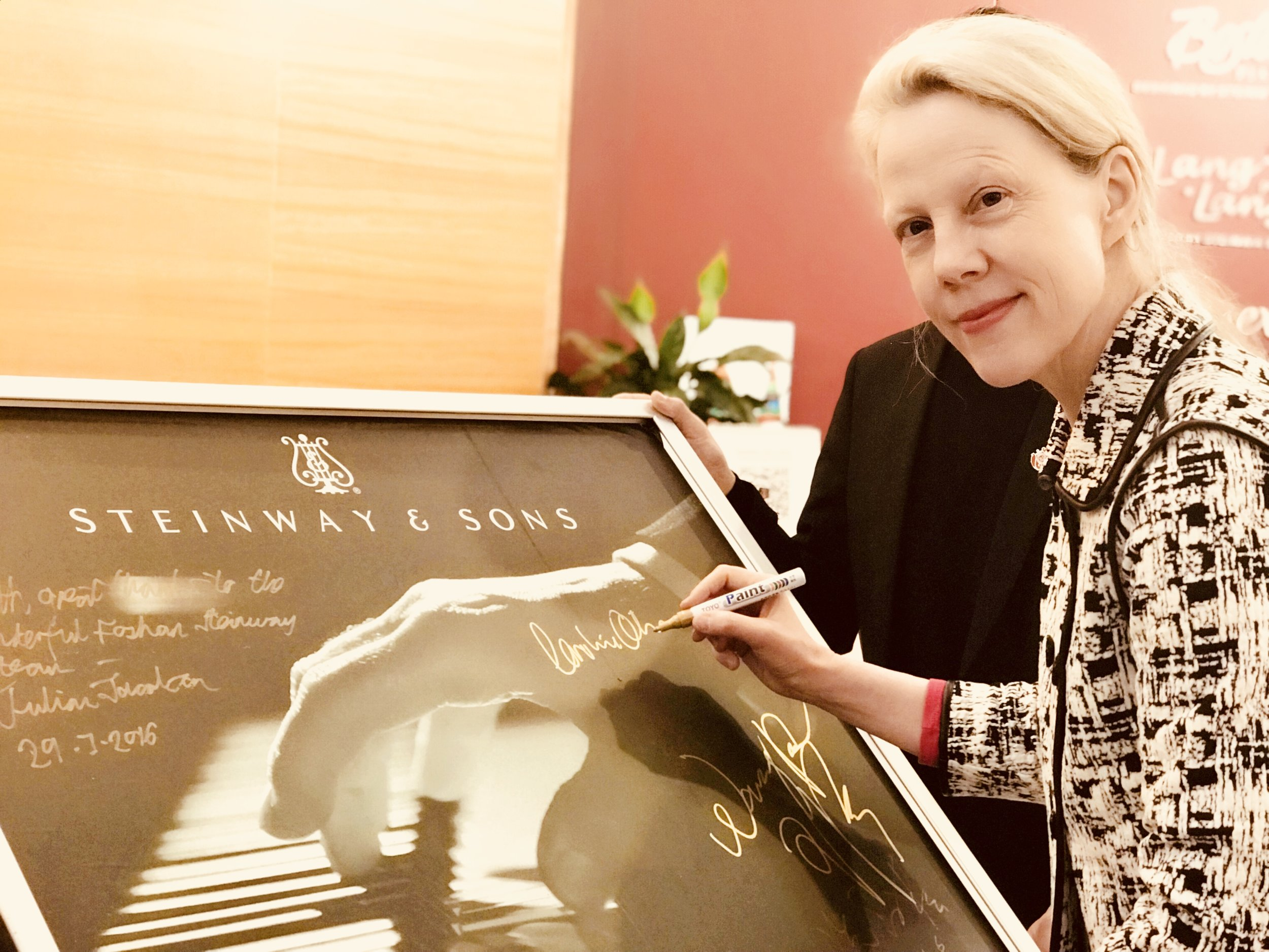Signing at the Steinway Gallery in Foshan, China