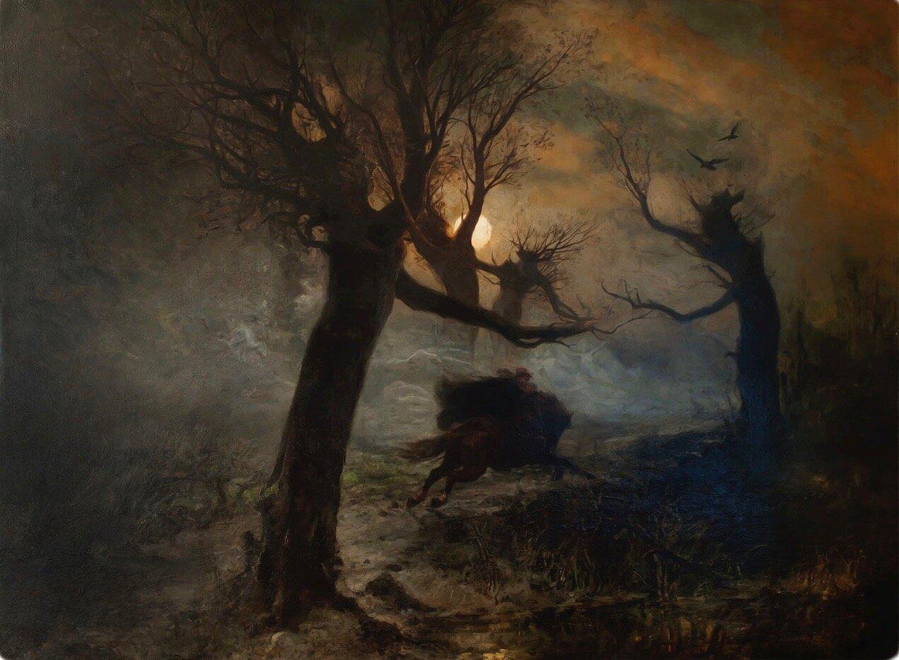 """Julius von Klever: """"Der Erlkönig"""" (1887, oil on canvas)"""