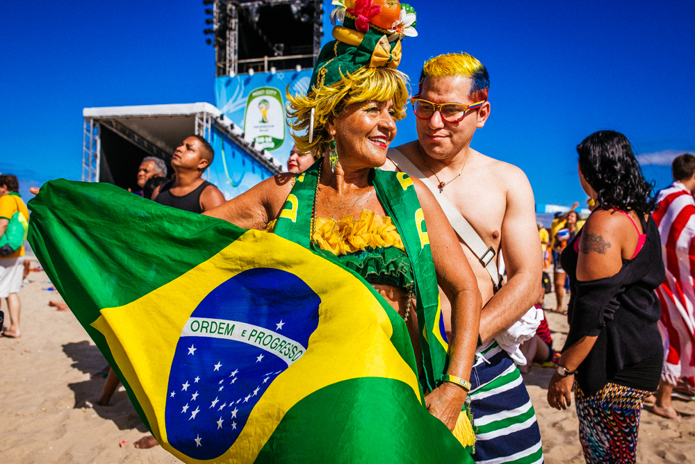 Fans mingle at the FIFA fan fest in Copacabana, Rio de Janeiro.