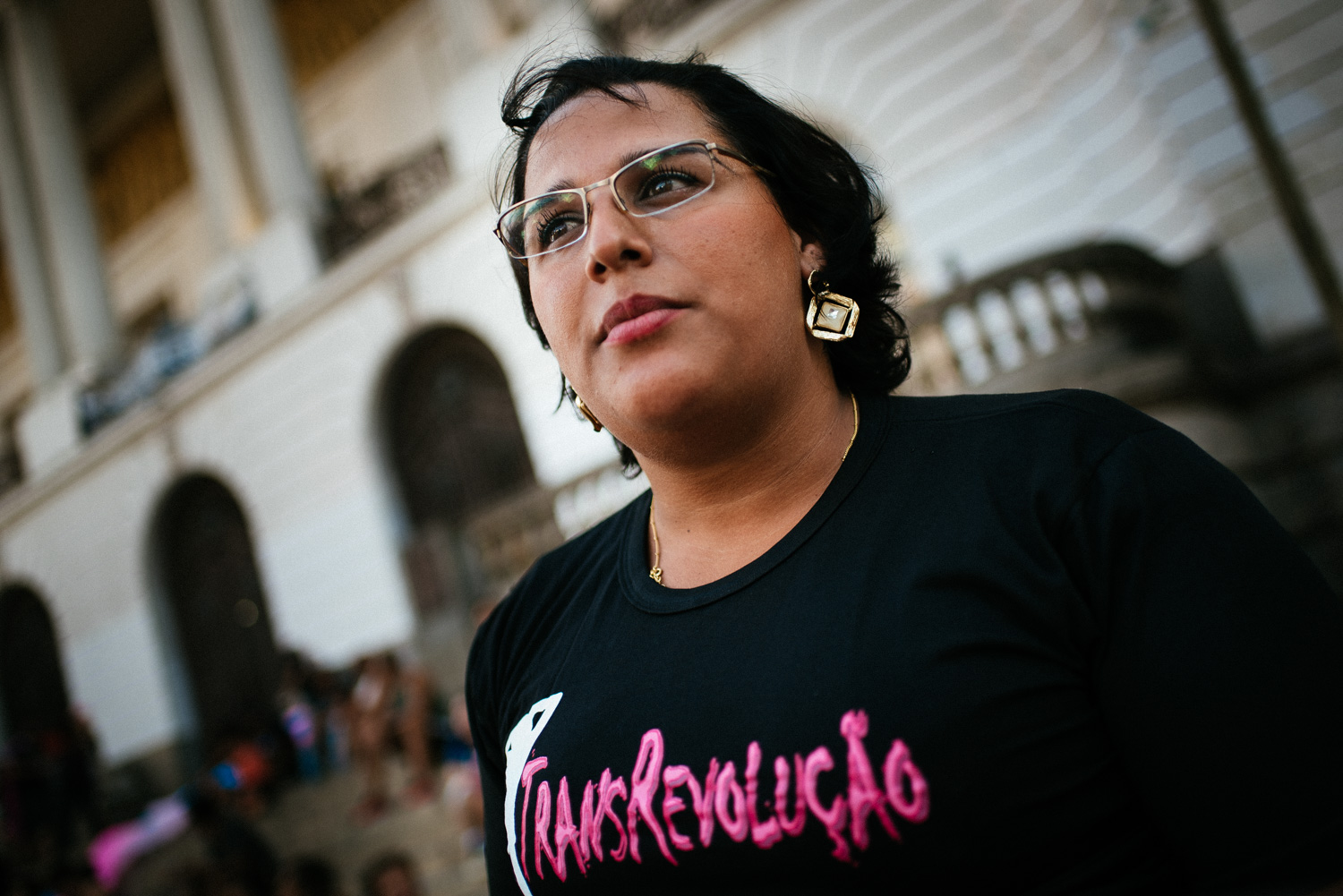 Beatriz Cordeiro, 28, speaks about transgender issues on transsexual awareness day, January 29th , 2015, in front of Rio de Janeiro city hall.