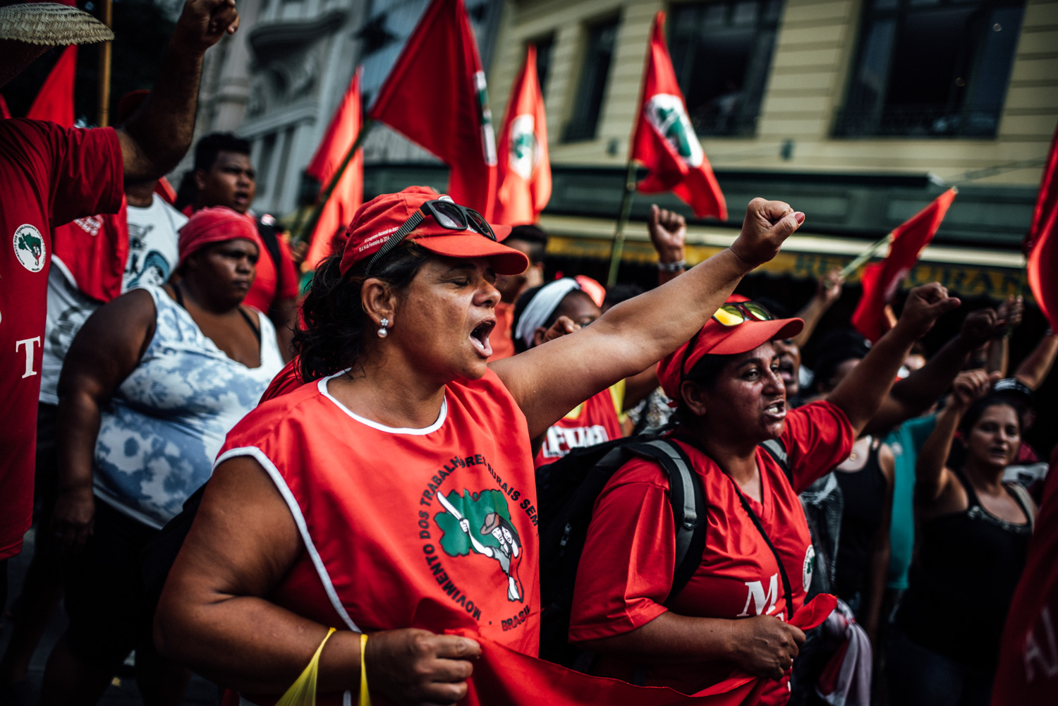 Landless workers rally in Rio de Janeiro in support of Petrobras, the Brazilian state oil company. In recent weeks, the company has been embroiled in one of the largest corruption scandals in the nations history. Rio de Janeiro, Brazil, 03-13-2015.