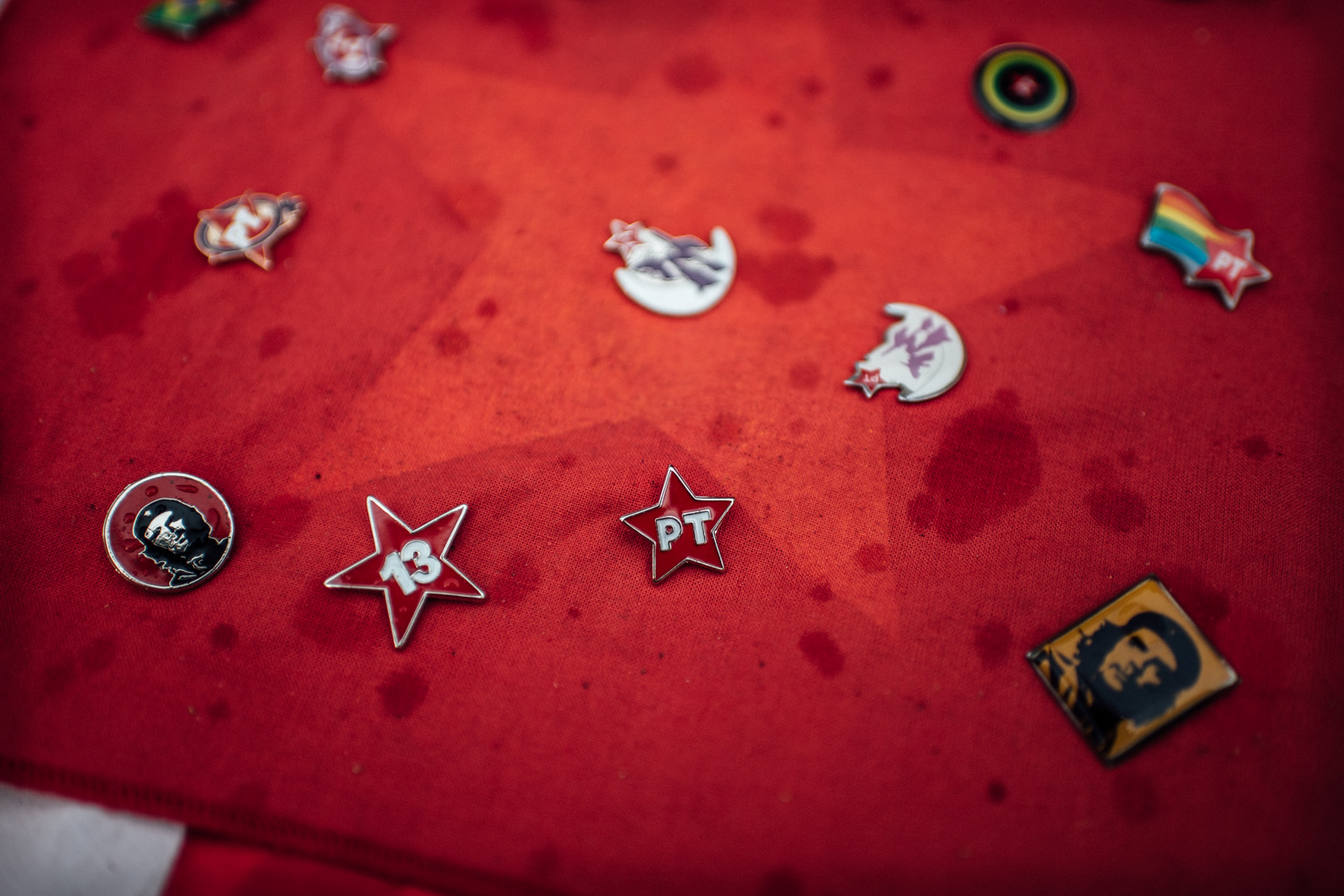 Assorted left wings pins for sale at a rally in support of Petrobras in Rio de Janeiro, Brazil. 03-13-2015.