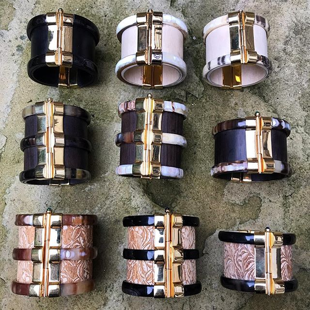 Each cuff is handmade from African wood and cow horn; set with precious gemstones from around Africa ✨