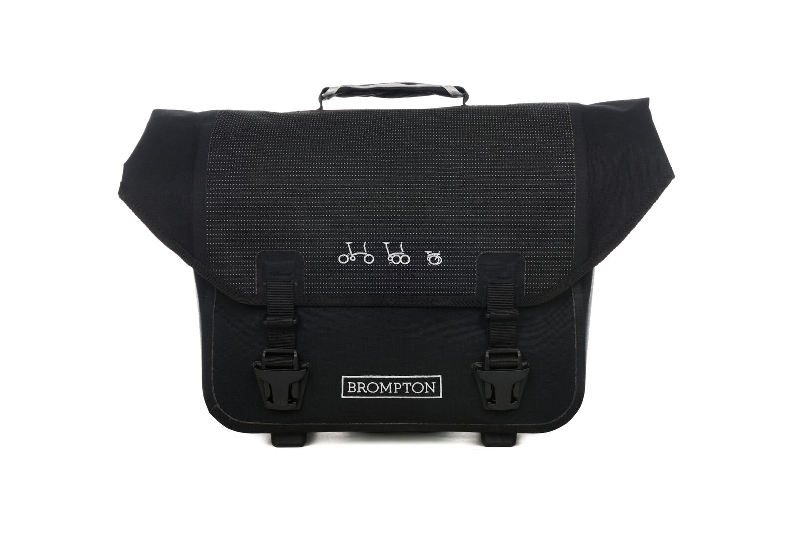 o bag  -Available in reflective material -Water-resistant -Integral padded laptop sleeve -Two removable rear pockets for smalle ritems -Key clip and convenient stationary holders -Shoulder strap  -20 Litres