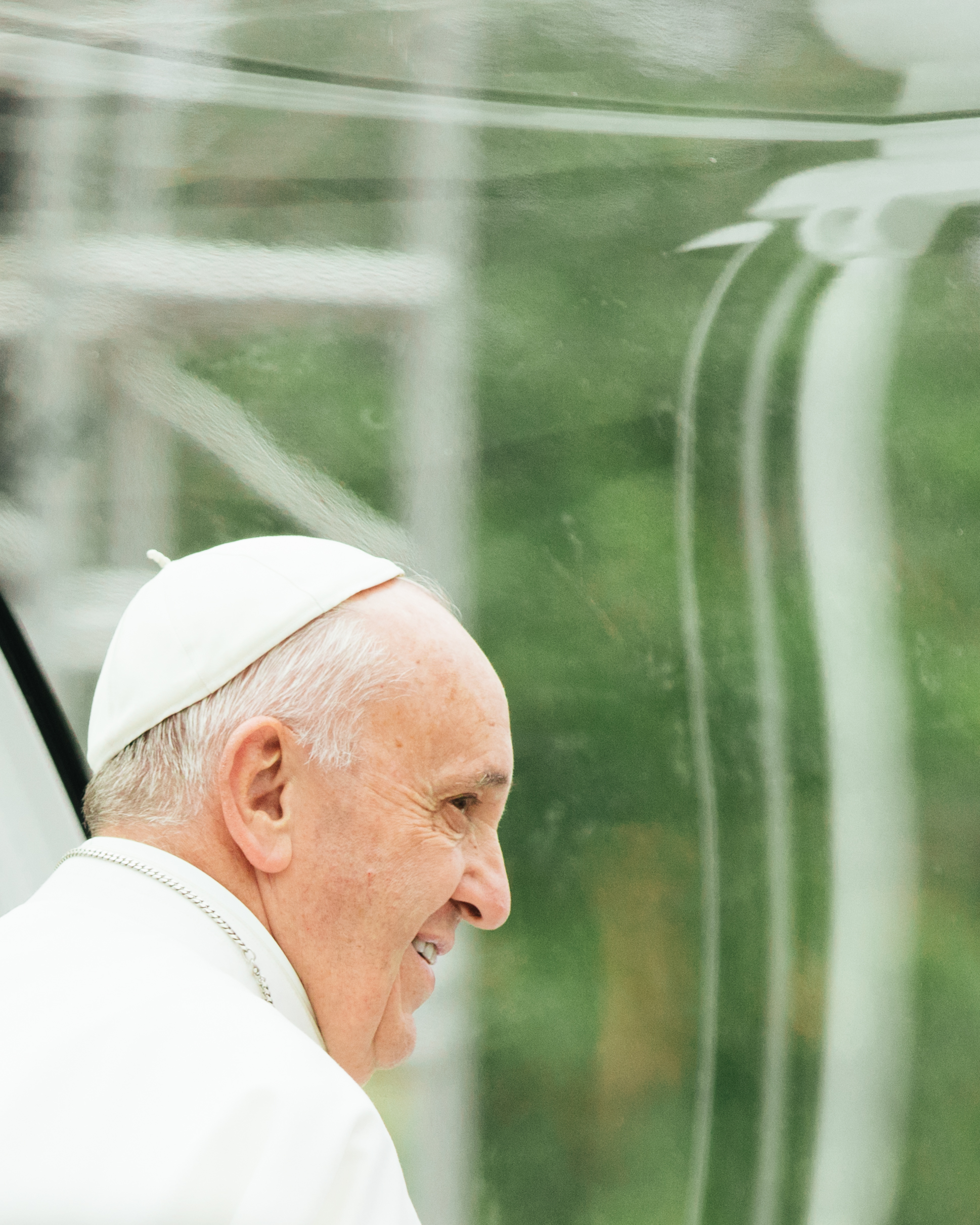 Pope Francis in the Popemobile in United States