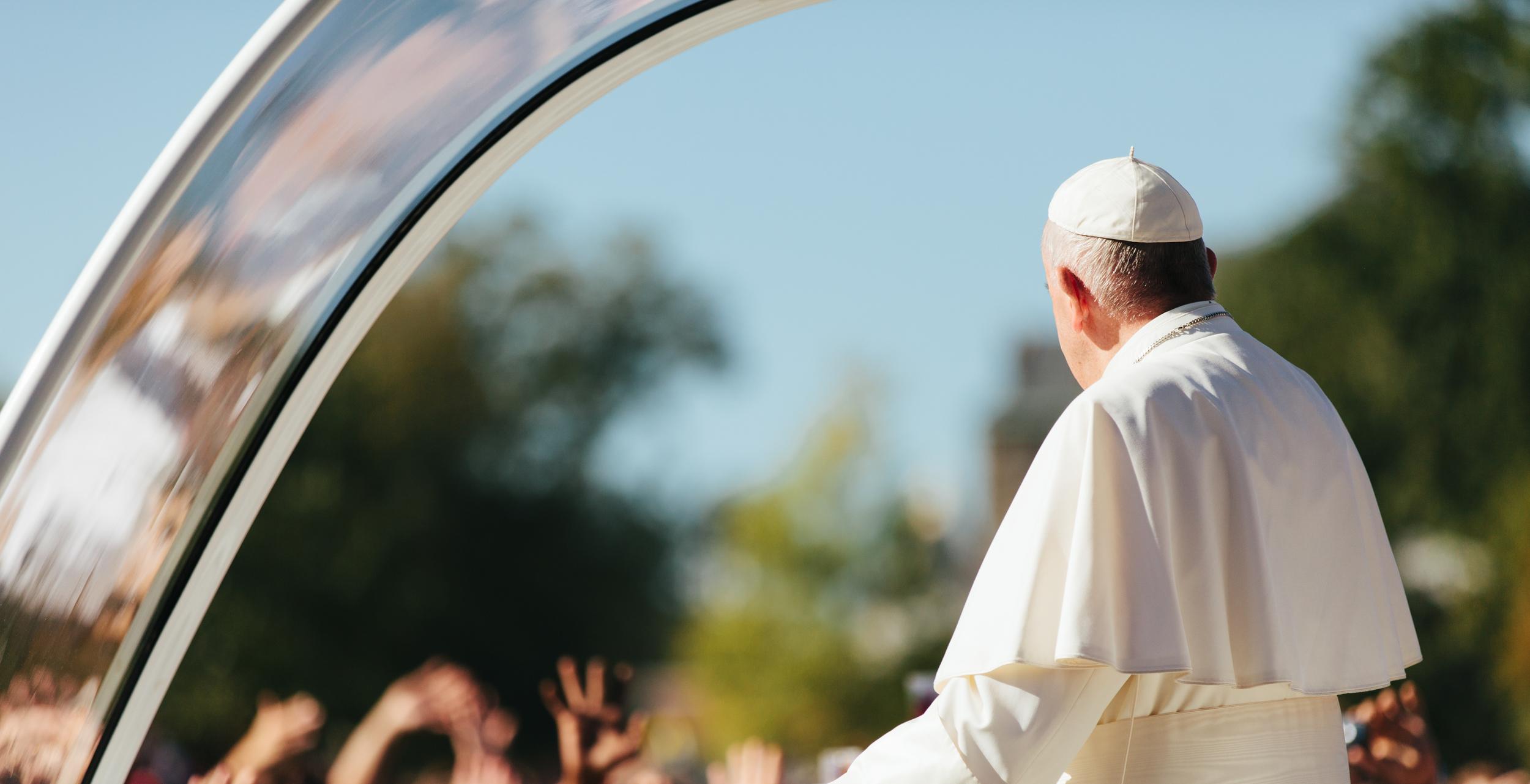 Pope Francis in Popemobile in Washington DC