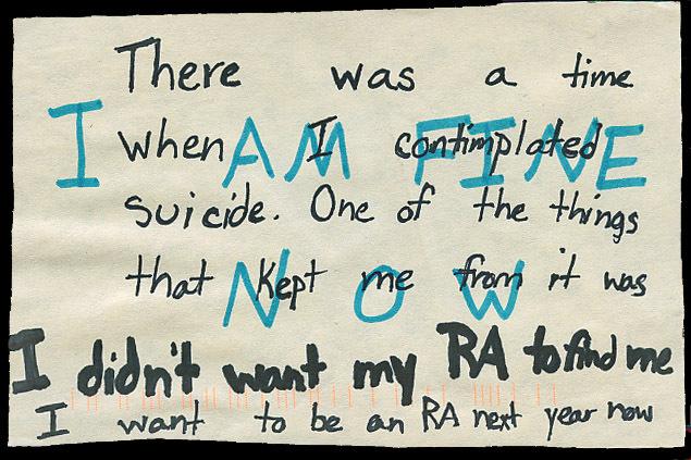 PostSecret Suicide RA College