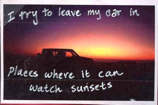 PostSecret Car Sunset