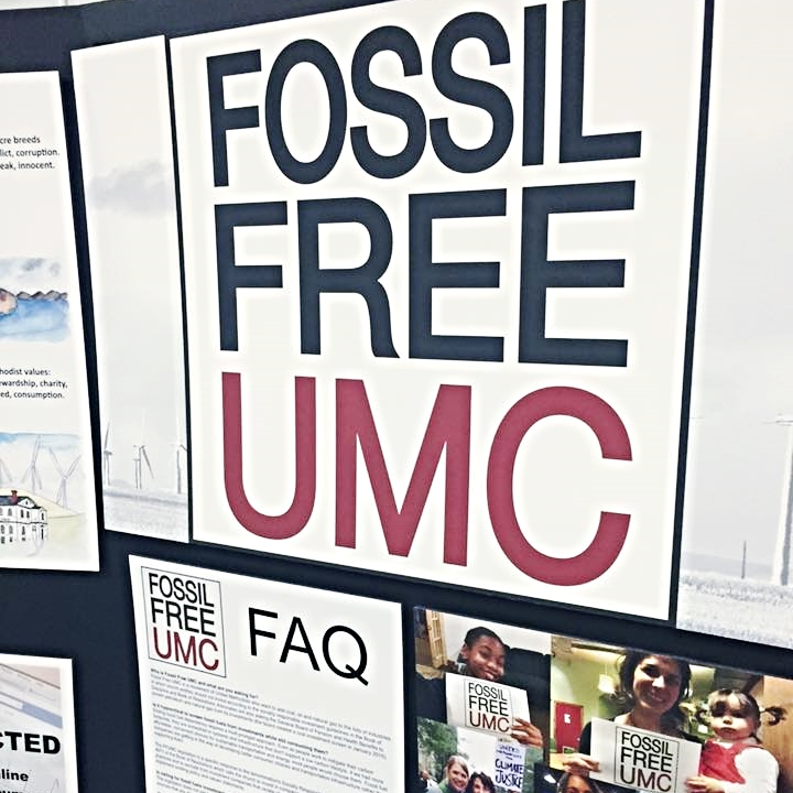 Fossil Free UMC display at the Pacific Northwest Conference