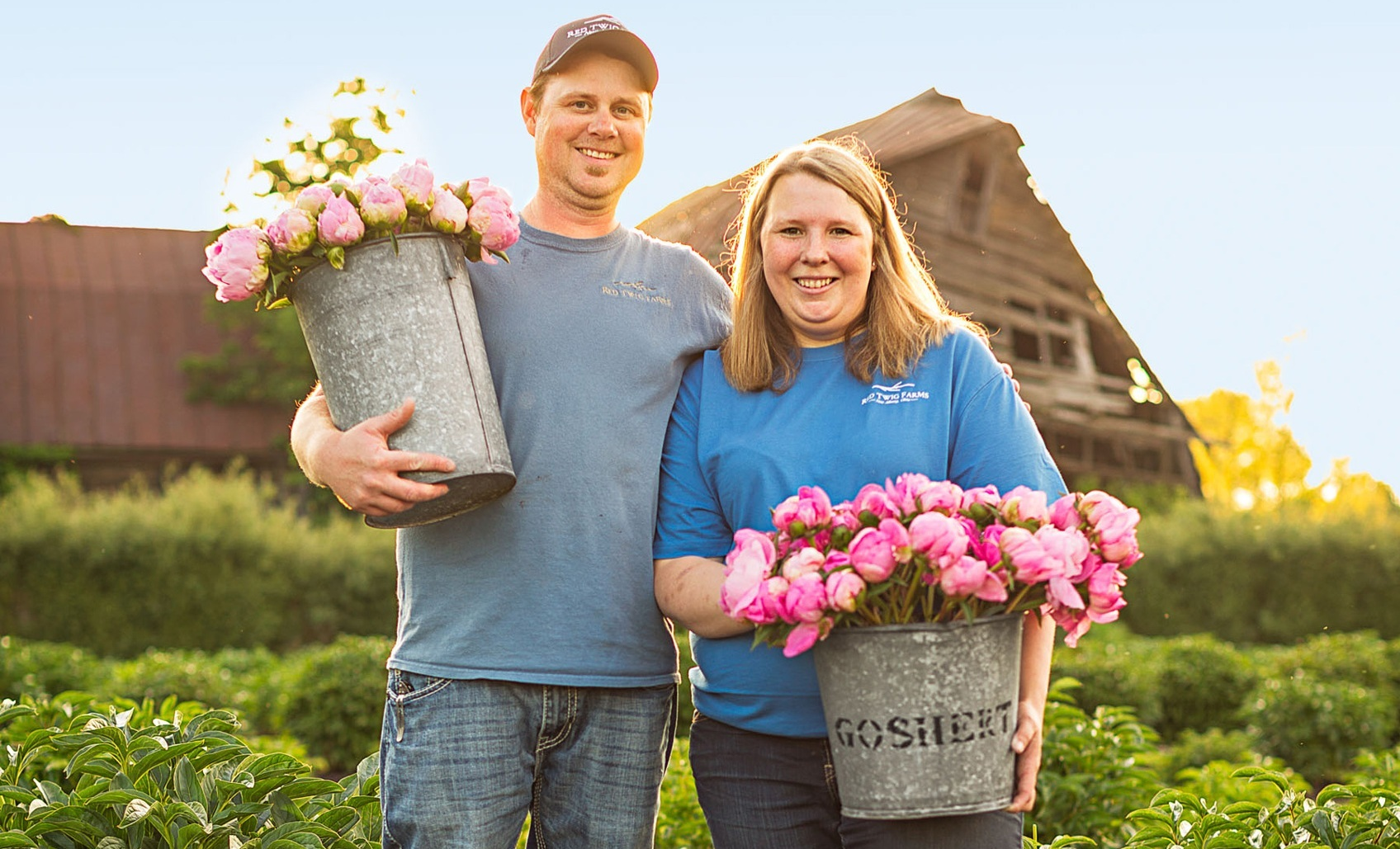 BRINGING BACK FARMING, CUT FLOWER STYLE - —Welcome to the Red Twig Farms! We are located in Central Ohio in New Albany. We are a small family owned and operated cut flower and branch farm. In the Spring we are in the fields morning til night harvesting Ranunculus, Tulips, Daffodils, Anemones and Peony flowers. Fall we are harvesting dogwood, willow and Ilex branches in a variety of color and textures for holiday containers and decor.Red Twig Farms started in 2010, after the family bought 9 acres across Jug Street from the family landscape nursery. The land hadn't been farmed for two decades. We saw an opportunity. What exactly that opportunity was had yet to unfurl, but it was definitely horticulture with our background.Red Twig Farms took time to get up and running. Peonies take 3 to 5 years to mature before you can harvest. We now produce over 28 varieties of peonies!We want our product to be consistent so our local customers continue to do purchase from us with confidence.Red Twig Farms is owned and operated by Josh & Lindsey McCullough.