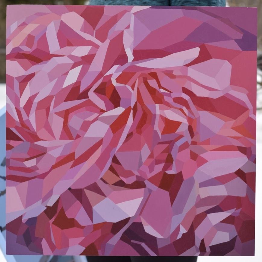 "Camellia - 18""x18"" acrylic - SOLD"