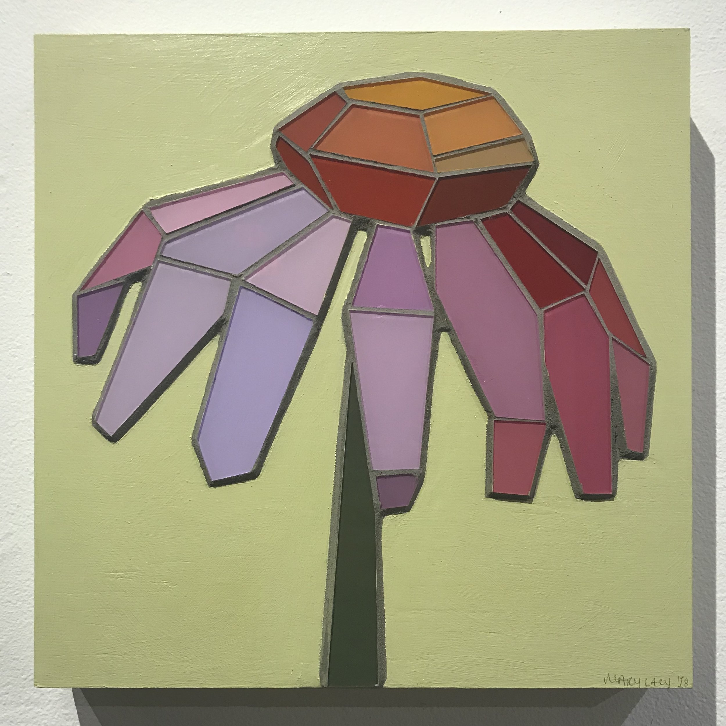 "Coneflower - 12""x12"" glass mosaic - SOLD"