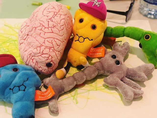 Hanging out with our friends Brain, Brain Cell, Nerve Cell, Dopamine and Serotonin during the #expressivetherapiessummit2019 #alwayslearning #alwaysgrowing