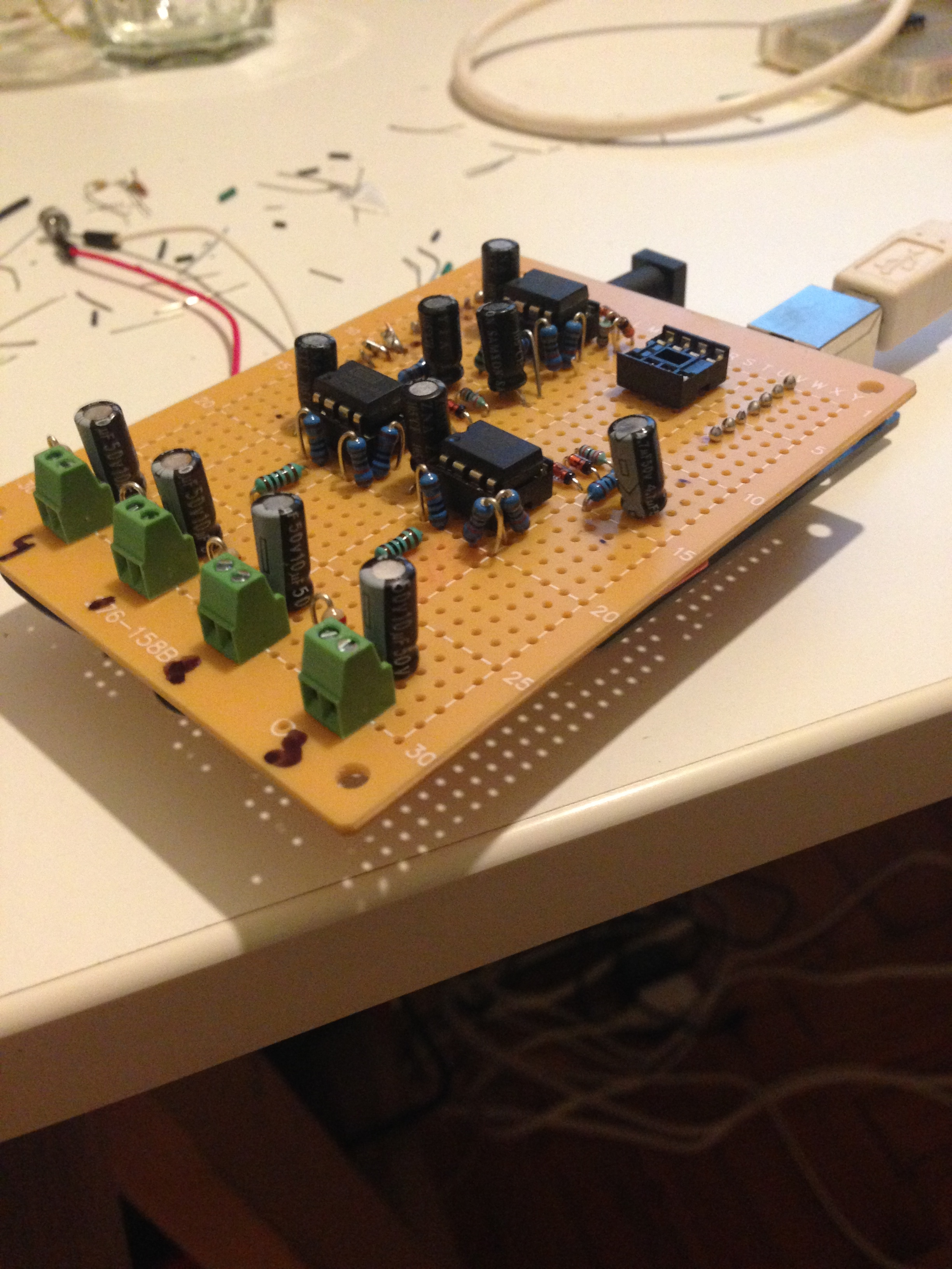 A new board!  A four channel mic pre, precision rectifier Arduino shield.