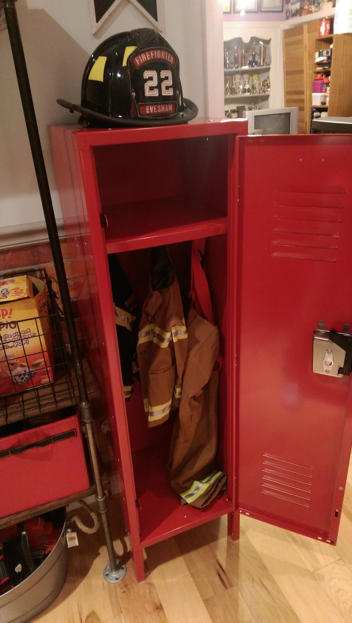 A locker for his turnout gear