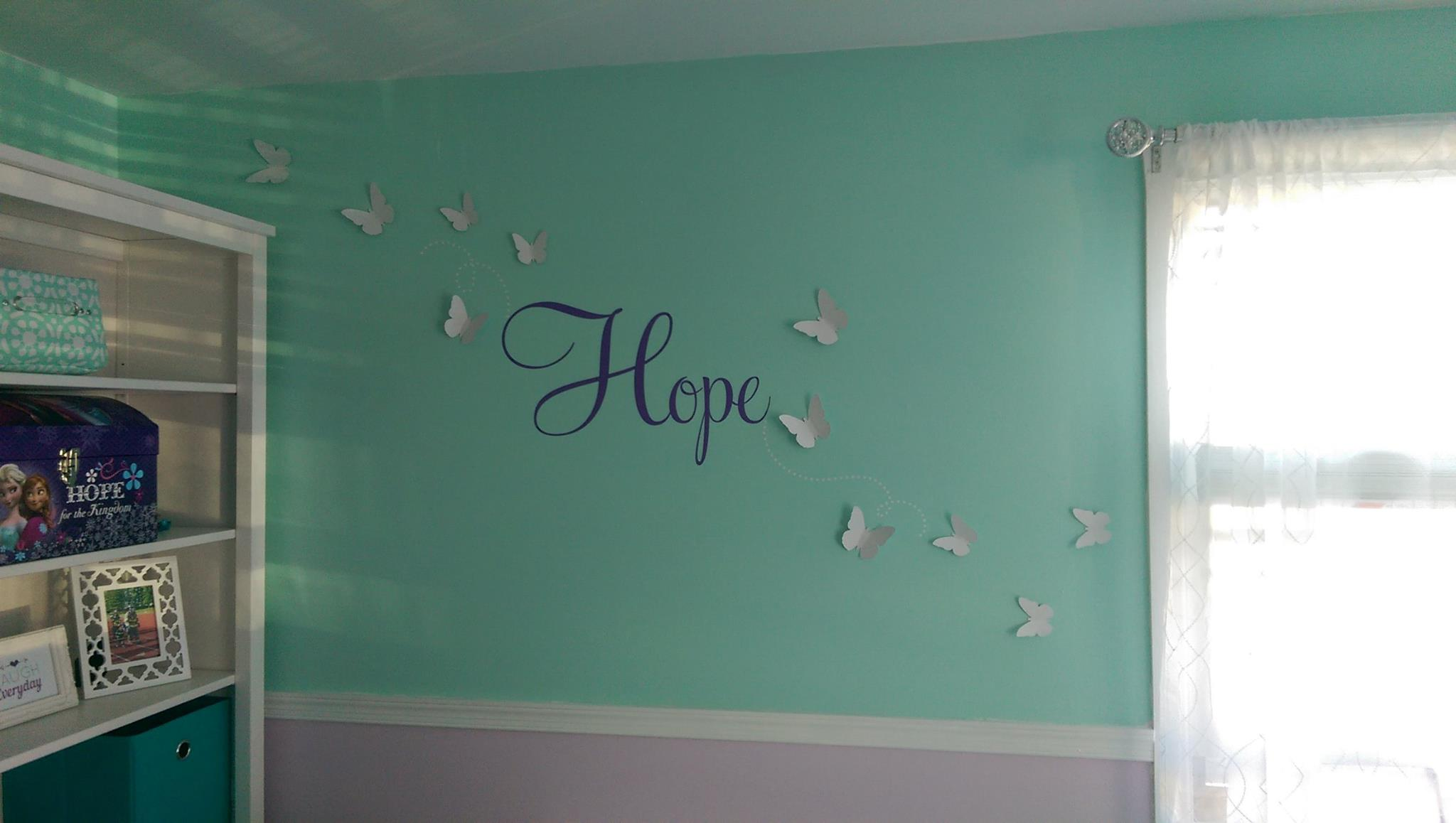 Vinyl wall art donated by Lola Decor and paper butterflies donated by Magical Whimsy. (both on Etsy)