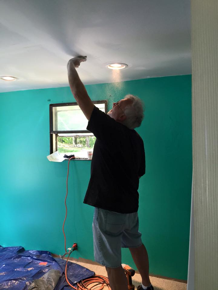 Sanding down the ceiling for paint