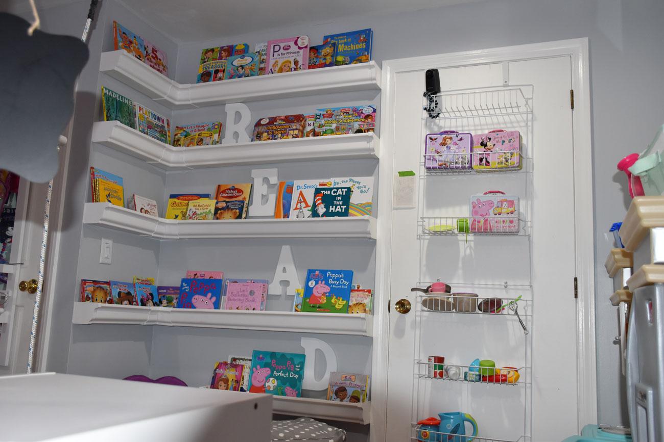 Gutter book shelves