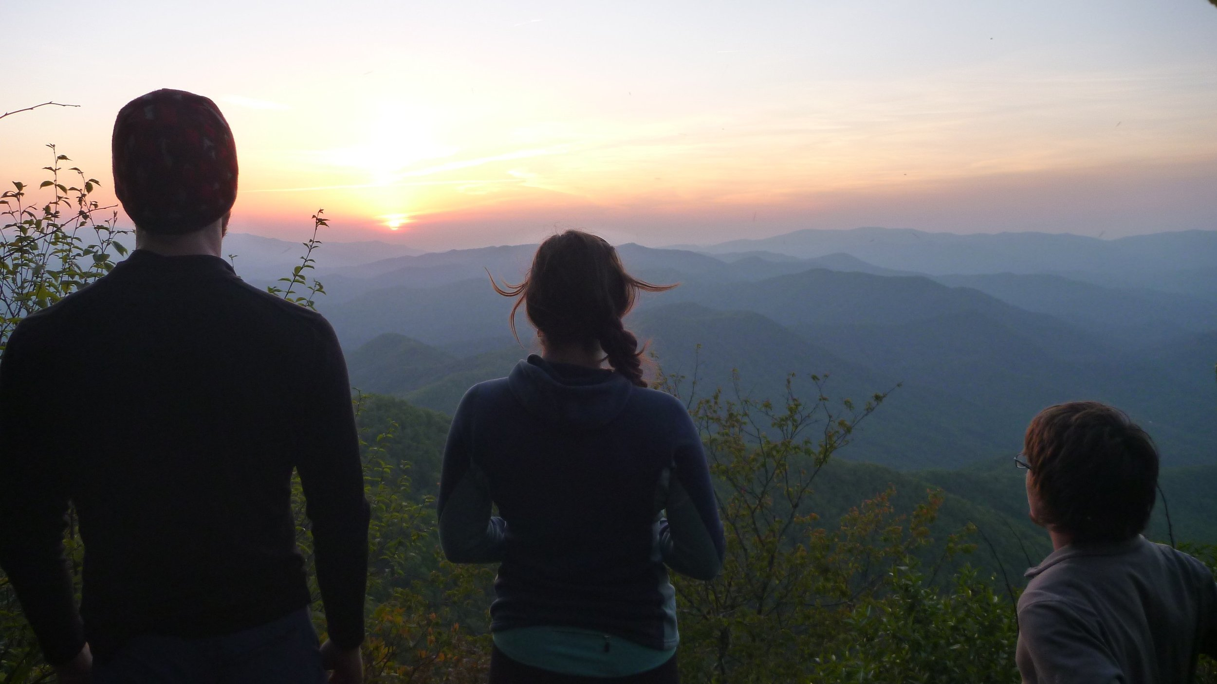 Blue Indian, Voldemort and Droid (formerly Roadblock) watch the sunset from Cheoah Bald.