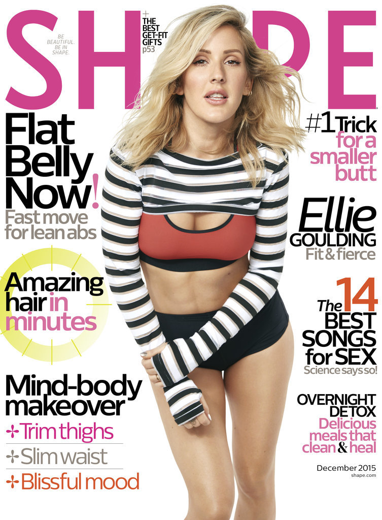 asteria active shape magazine december cover striped crop shrug ellie goulding