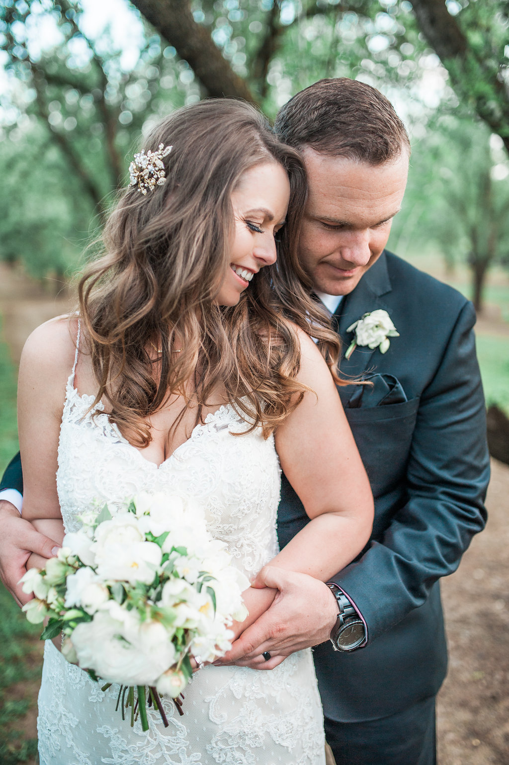 wedding in almond orchard in Durham, CA by Shannon Rosan - bride and groom portrait