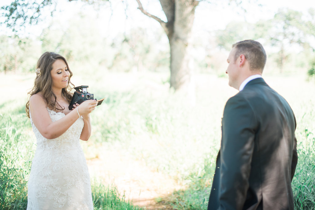 Shannon Rosan photo of bride and groom in almond orchard