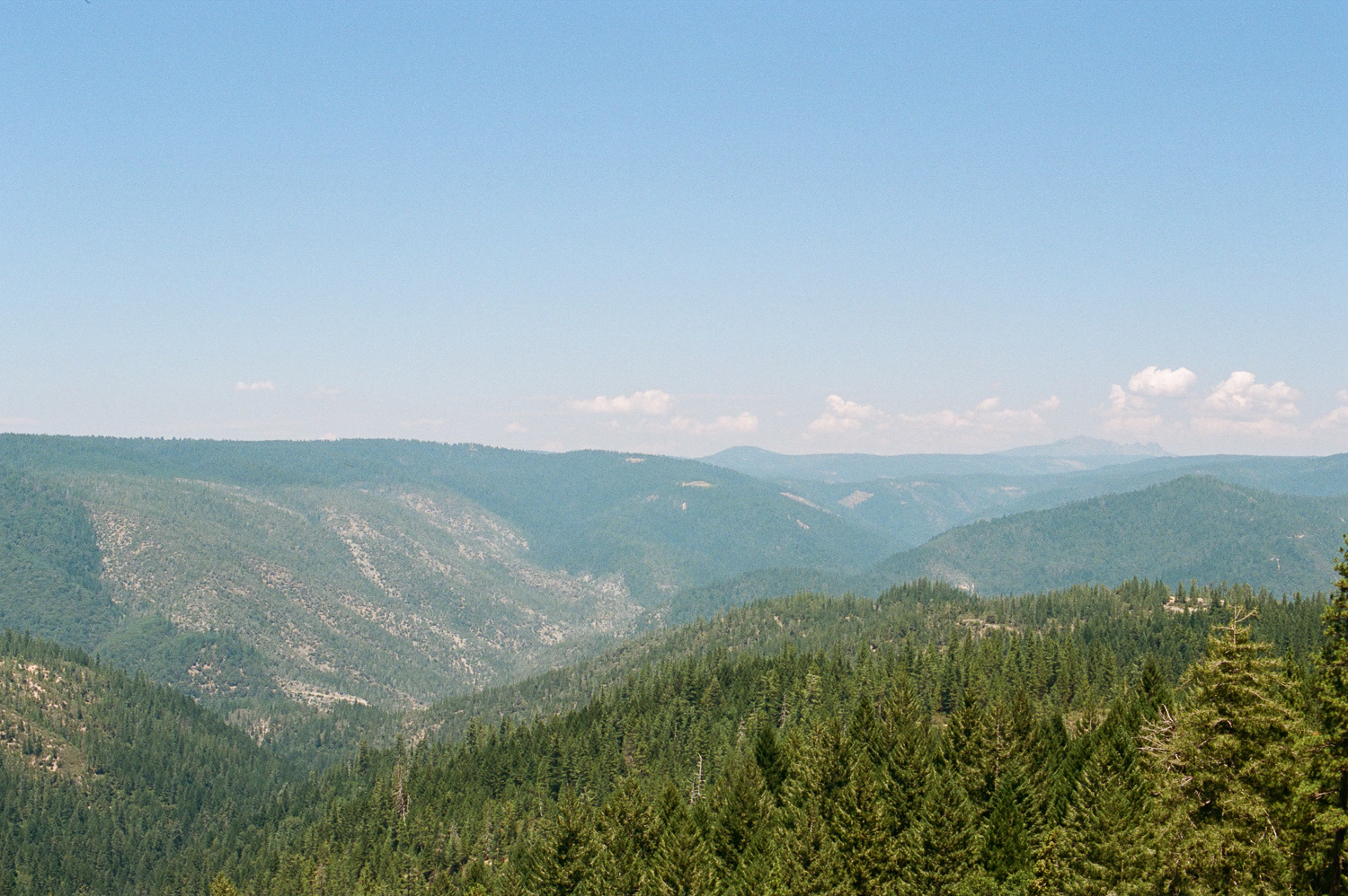 The view from the Lookout Point on Highway 20 towards Donner. | Nikon F100 on Portra 400