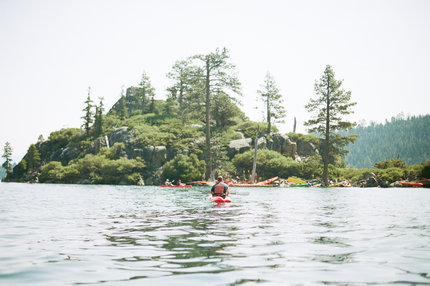 Kayaking towards Fennet Island in Emerald Bay
