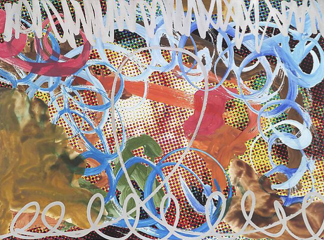 JEFF KOONS, Waterfall Couple (Dots) Blue Swish With Red Stroke, 2009, Oil on canvas