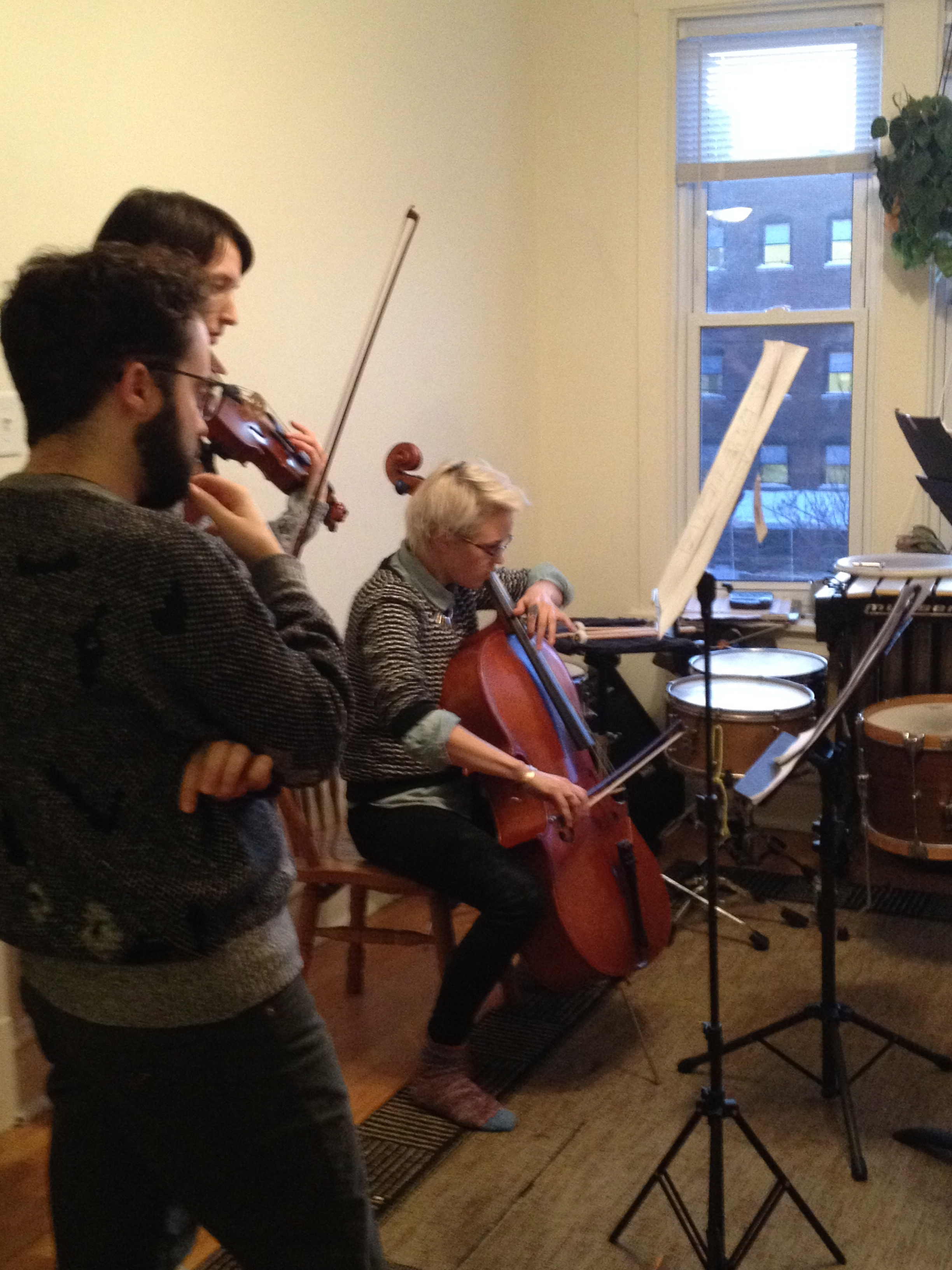 Playing Joan Pamies' quartet for him in Zach's apartment!