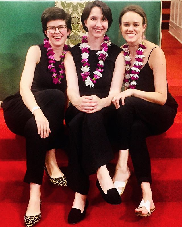Happy after our #concert at Gloria Dei with #leis by @_simone_alexa_ 🙏 and newly #thrifted #leopard print shoes I had to crop into this photo... #newmusic #stpaul #stringtrio #thankyoualiwong