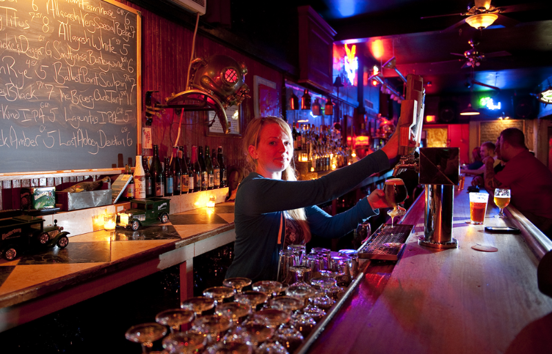 Photo from Worcester Mag, bartender at the Dive Bar