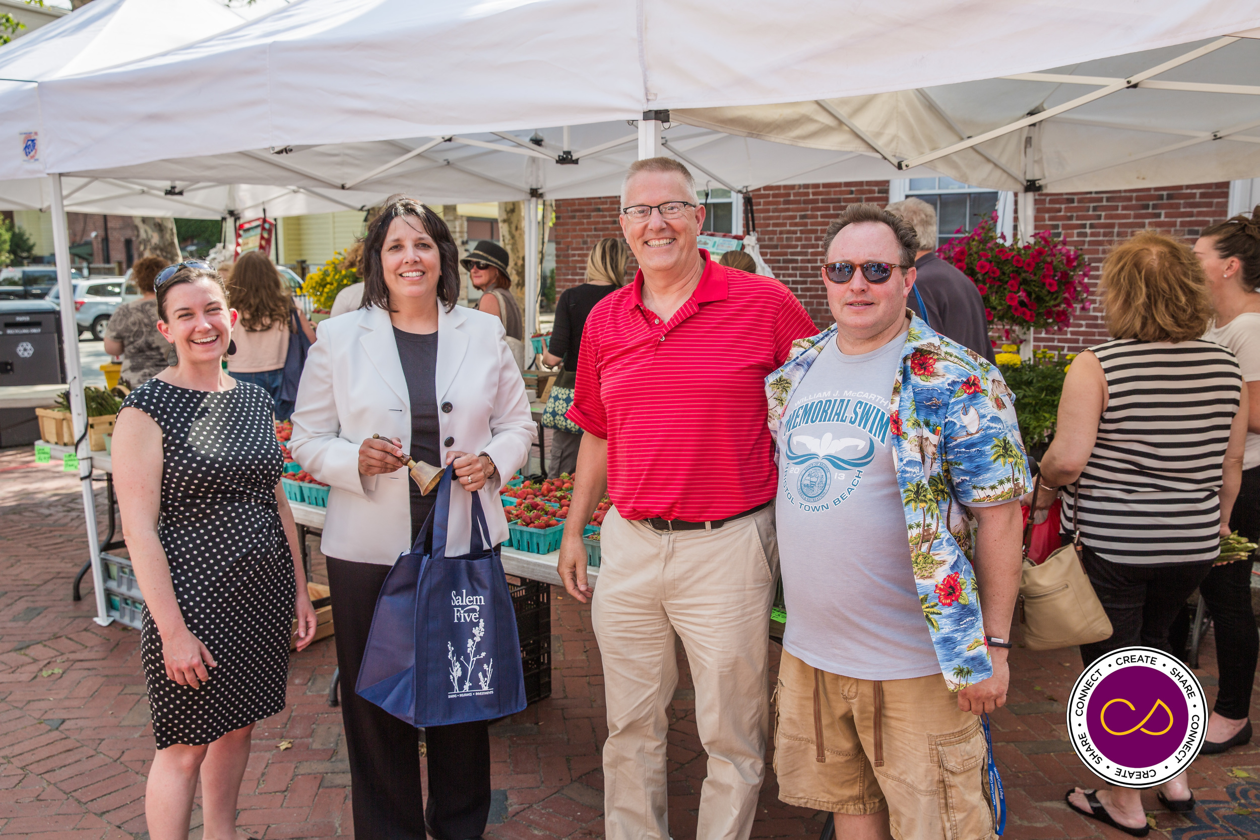 Kylie Sullivan (Salem Main Streets) Mayor Kimberly Driscoll,  Rinus Oosthoek (Salem Chamber of Commerce) Gus Sousa(Market Manager)