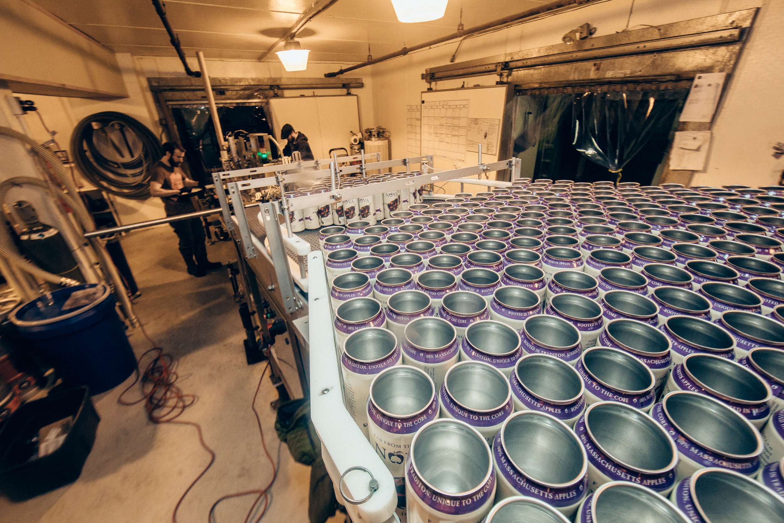 Thousands of empty cans get ready to be filled