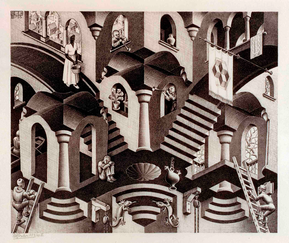 M. C. Escher,  Convex and Concave , lithograph, 1955.
