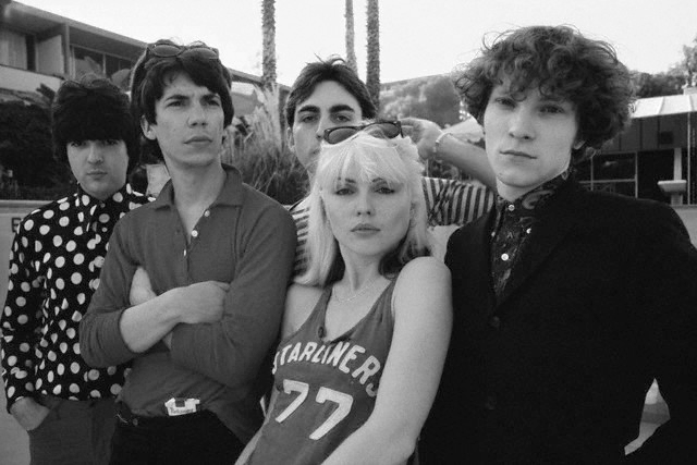 Blondie . Left–to-right: Clem Burke, Jimmy Destri, Chris Stein, Debbie Harry, and Gary Lachman (a.k.a. Gary Valentine).