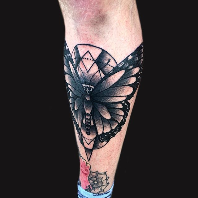Blackwork monarch butterfly done for Evan in memory of his grandmother . . . . . . . #tattoos #tattoo #inkstagram #atlantatattoo #atltattoo #duluthtattoo #colortattoo #boldtattoos #neotraditionaltattoo #blackwork #blackworktattoo
