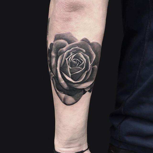 Black and Gray rose done today . . . . . . . #tattoos #tattoo #inkstagram #atlantatattoo #atltattoo #duluthtattoo #blackandgray #boldtattoos #neotraditionaltattoo #rosetattoo